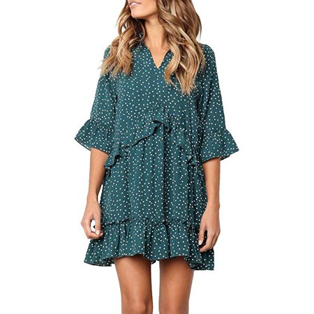 Women's V Neck Ruffle Polka Dot Pocket Loose Swing Casual Short T-Shirt Dress Perfect Polka Dot Dress