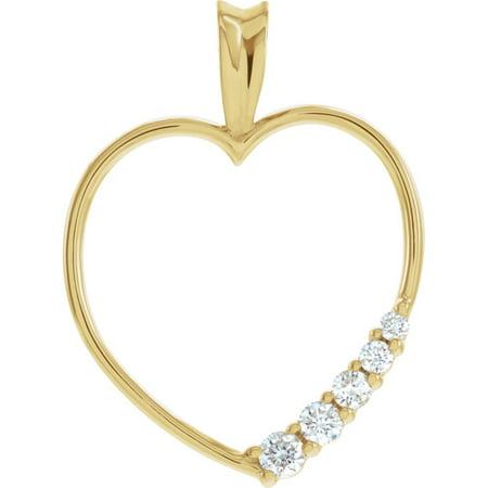 18k Yellow Gold Journey 1/5 Ct Diamond Heart Pendant