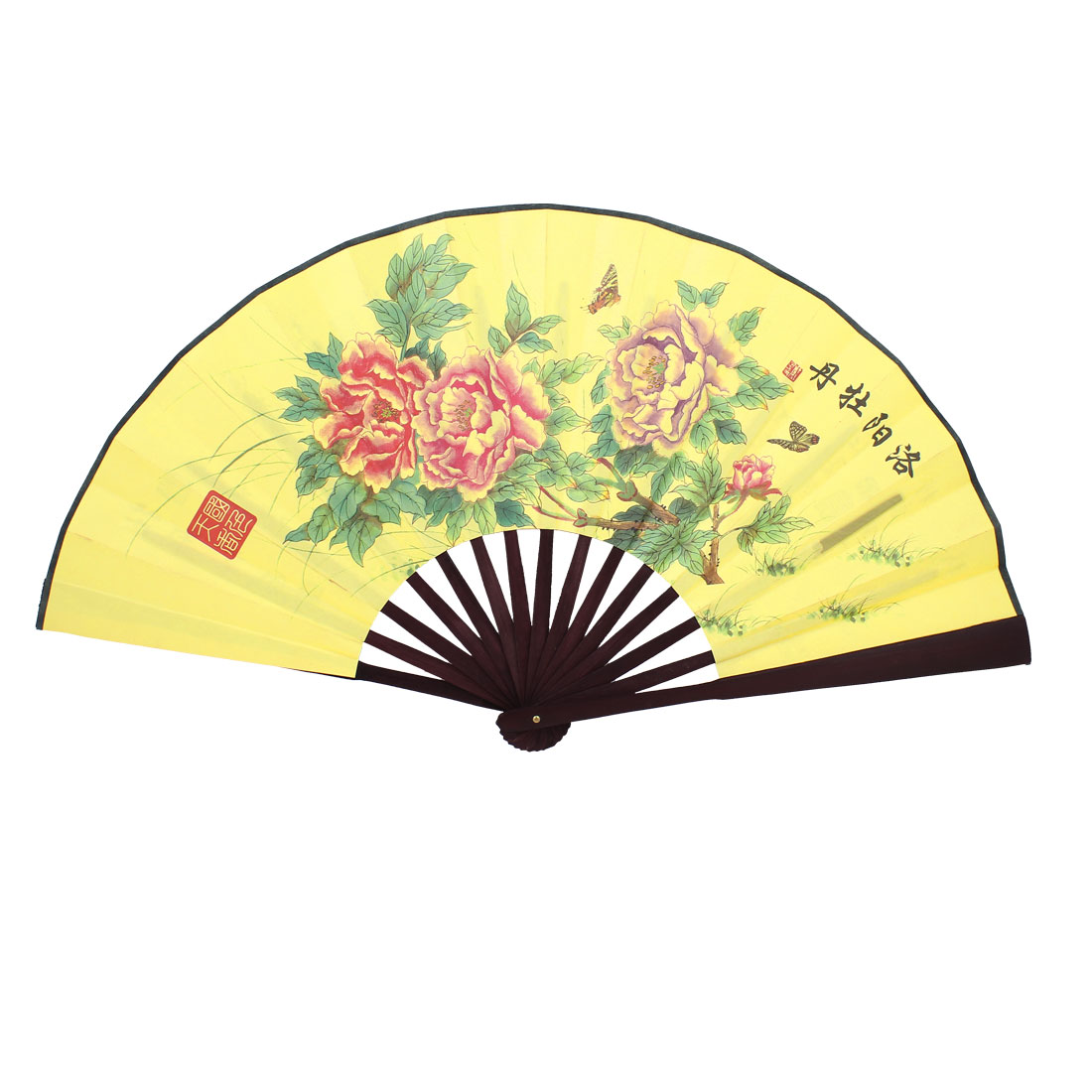 Bamboo Ribs Chinese Poem Peony Printed Fabric Foldable Craft Hand Fan