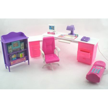 Pink Computer Home Office Barbie Size Furniture Set (Barbie Computer)