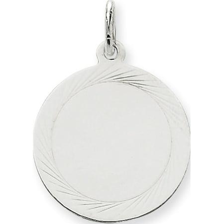 Leslies Fine Jewelry Designer 14k White Gold Etched Design .018 Gauge Round Engravable (19x27mm) Pendant Gift