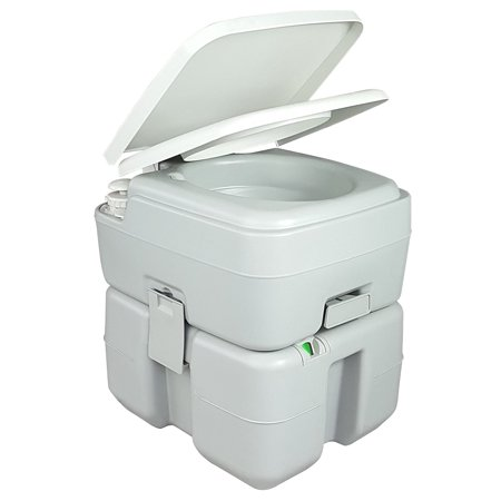 TruePower High Pressure Flush Portable Toilet - 5.3 Gallon w/ Level (Palm Springs 5 Gallon Plastic Portable Flushing Toilet)