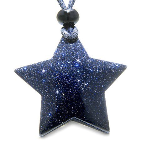 Amulet Magic Five Pointed Super Star Crystal Blue Goldstone Good Luck Pendant -