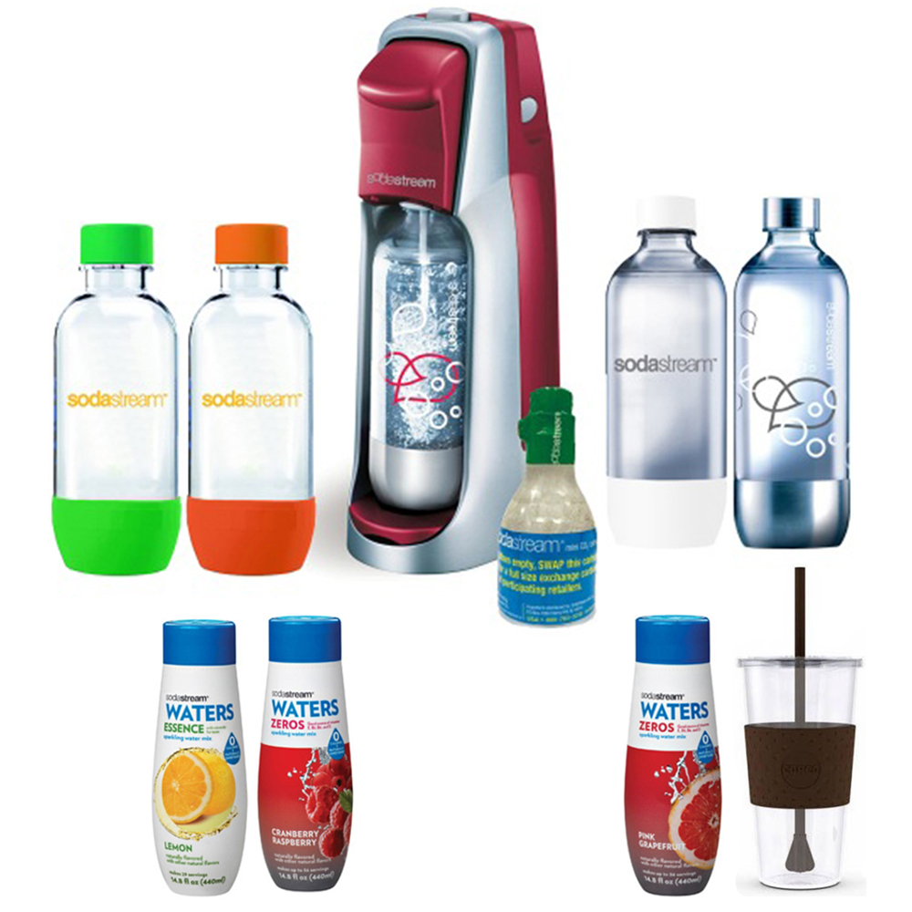 SodaStream Fountain Jet Soda Maker in Red w Exclusive Kit 4 Bottles & Mini CO2, Tumbler 24oz Mug, Waters Zeros with two flavor Pink Grapefruit and Cran Raspberry zero cal and Water Essence Lemon Flvr