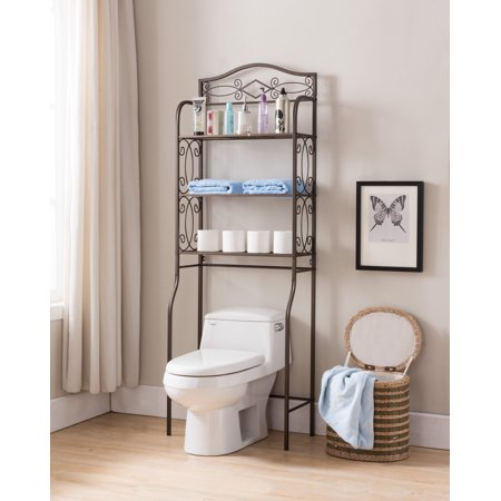 Pewter metal 3 tier over the toilet storage etagere for Bathroom cabinets over toilet walmart