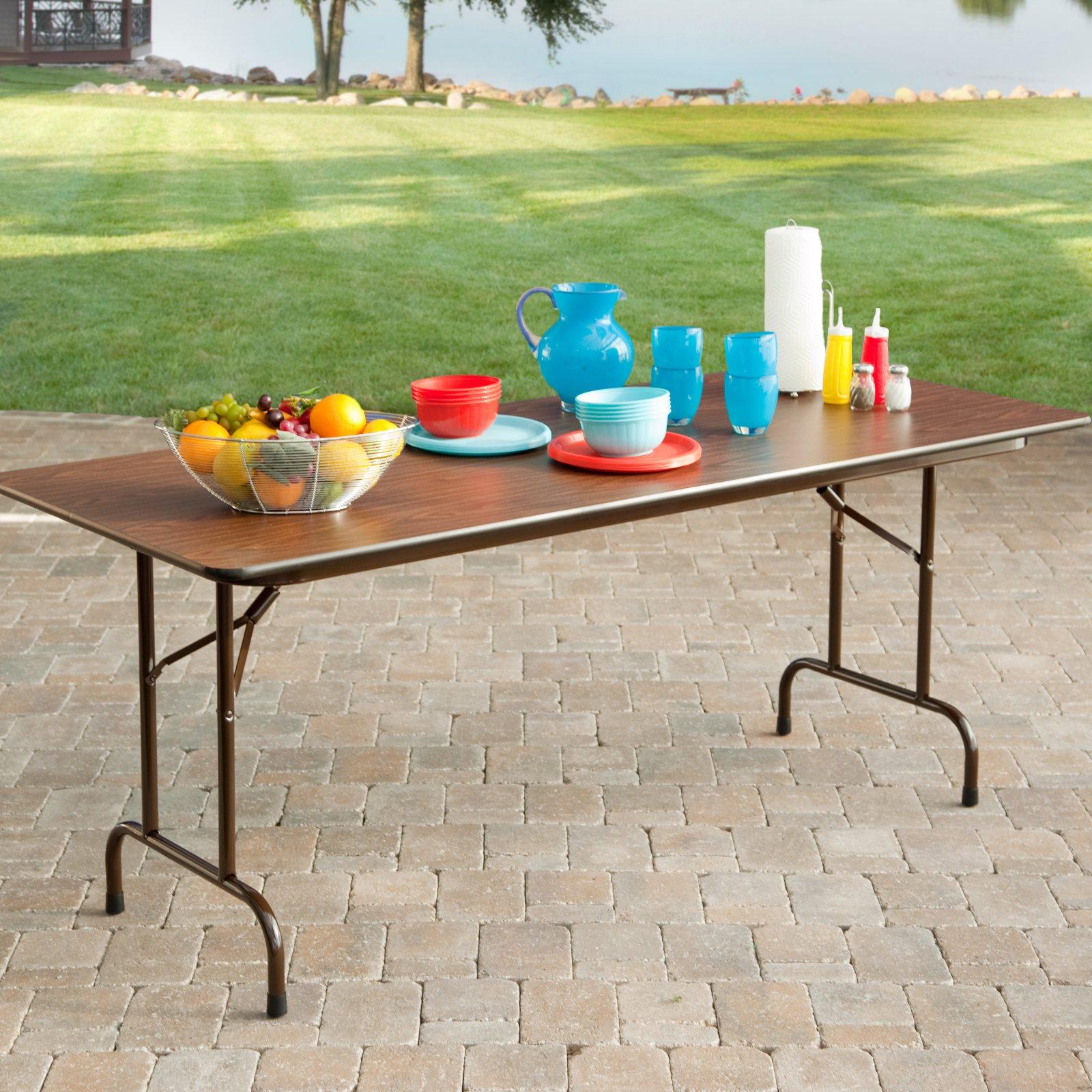 Correll Rectangle Melamine Folding Table - Brown