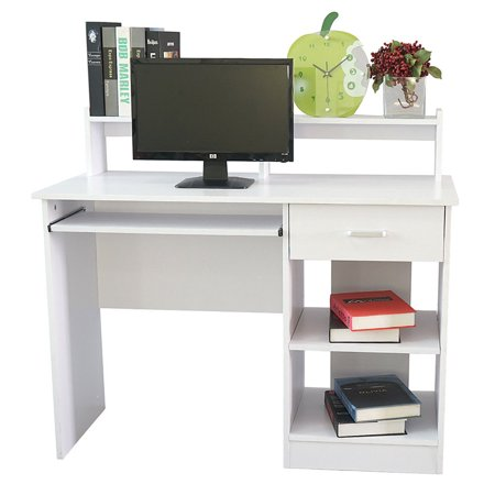 Zimtown Computer Desk Office Laptop PC Table Home Office Workstation Drawer Shelf White