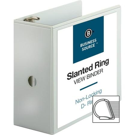 "Business Source Basic D-Ring White View Binders - 5"" Binder Capacity - D-Ring Fastener - Polypropylene - White - 2.10 lb - 1 Each"