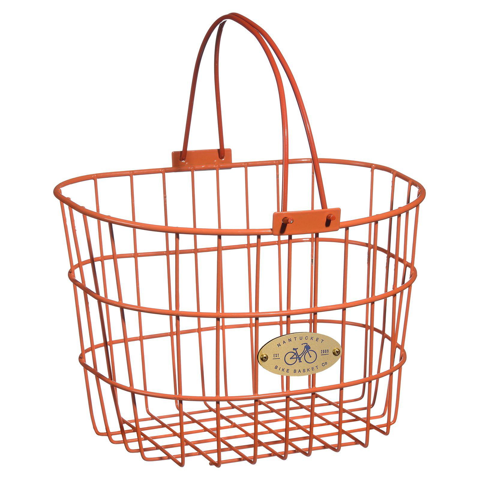 Nantucket Bicycle Basket Co. Surfside Adult Wire D-Shape Basket, Pink