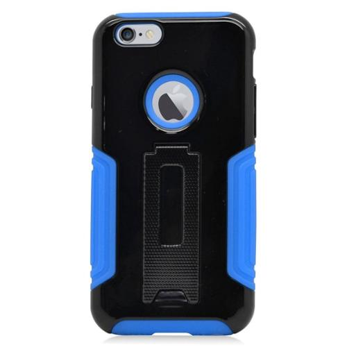 Insten Hard Hybrid Plastic Silicone Case w/stand for iPhone 6 / 6s - Black/Blue