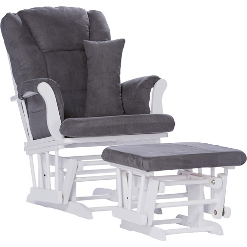 Storkcraft Custom Tuscany Glider and Ottoman with Bonus Lower Lumbar Pillow, White/Gray