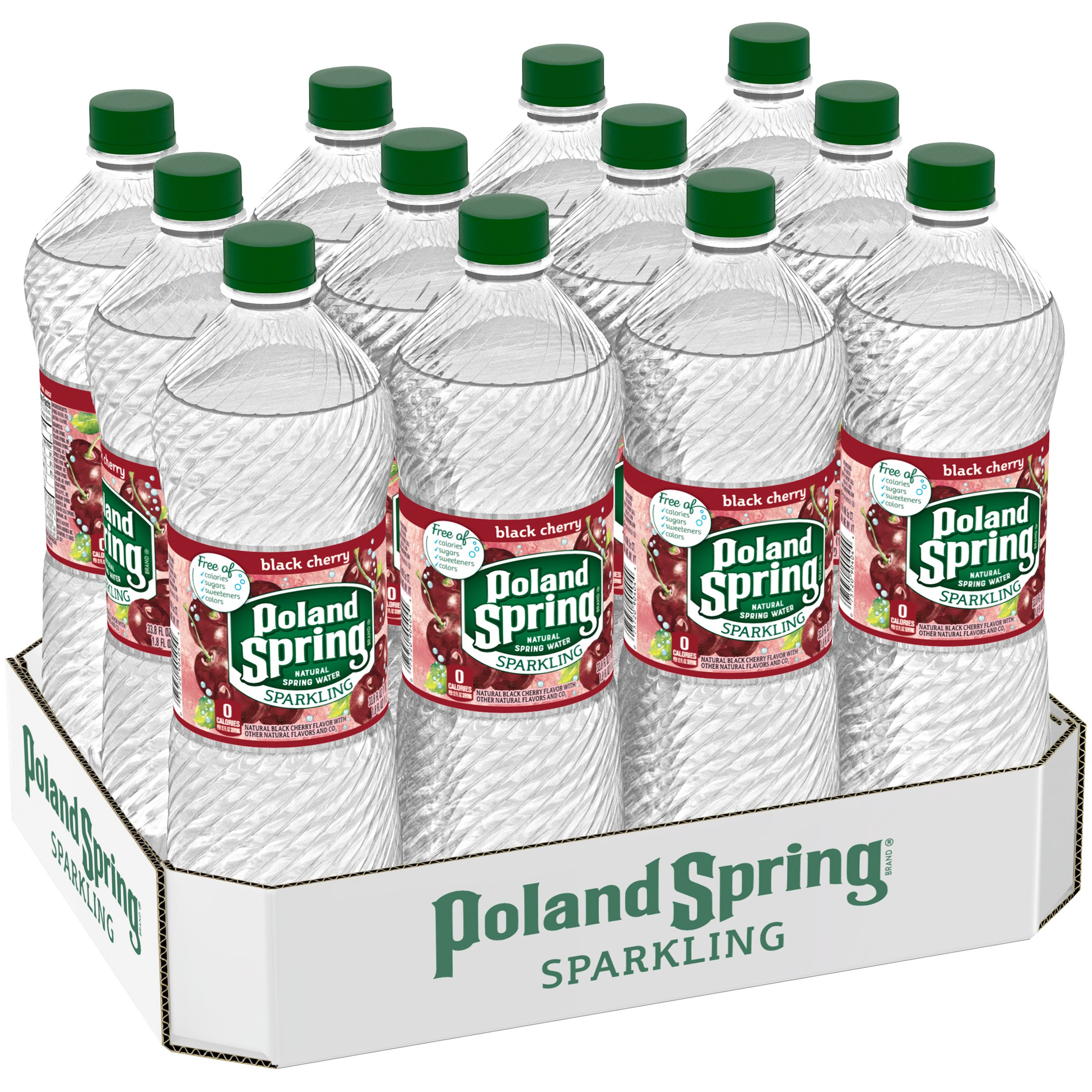 Poland Spring Sparkling Water, Black Cherry, 33.8 oz. Bottles (Pack of 12)