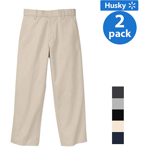 George Boys Husky Flat Front Twill Pant With Scotchguard, 2-Pack Value Bundle