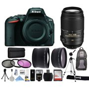 """Nikon D5500 DSLR Digital Camera (Body Only) + 55-300mm VR Lens + Backpack + 64GB Memory Card + i-TTL LCD Flash + 2.2x Telephoto + 0.43x Wide Angle + 3 Filters + Cleaning Kit + 70"""" Tripod + More!"""