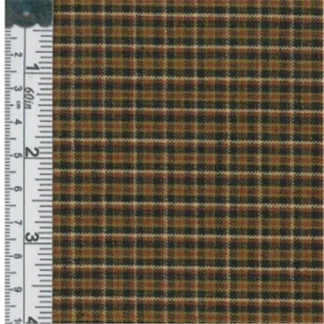 Textile Creations 1239 Rustic Woven Fabric, Small Plaid Khaki, Brown And Black, 15 yd.