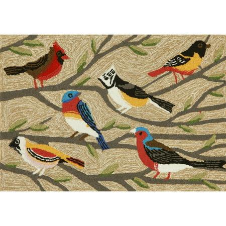 Liora Manne Frontporch Birds Indoor/Outdoor Rug Natural 24