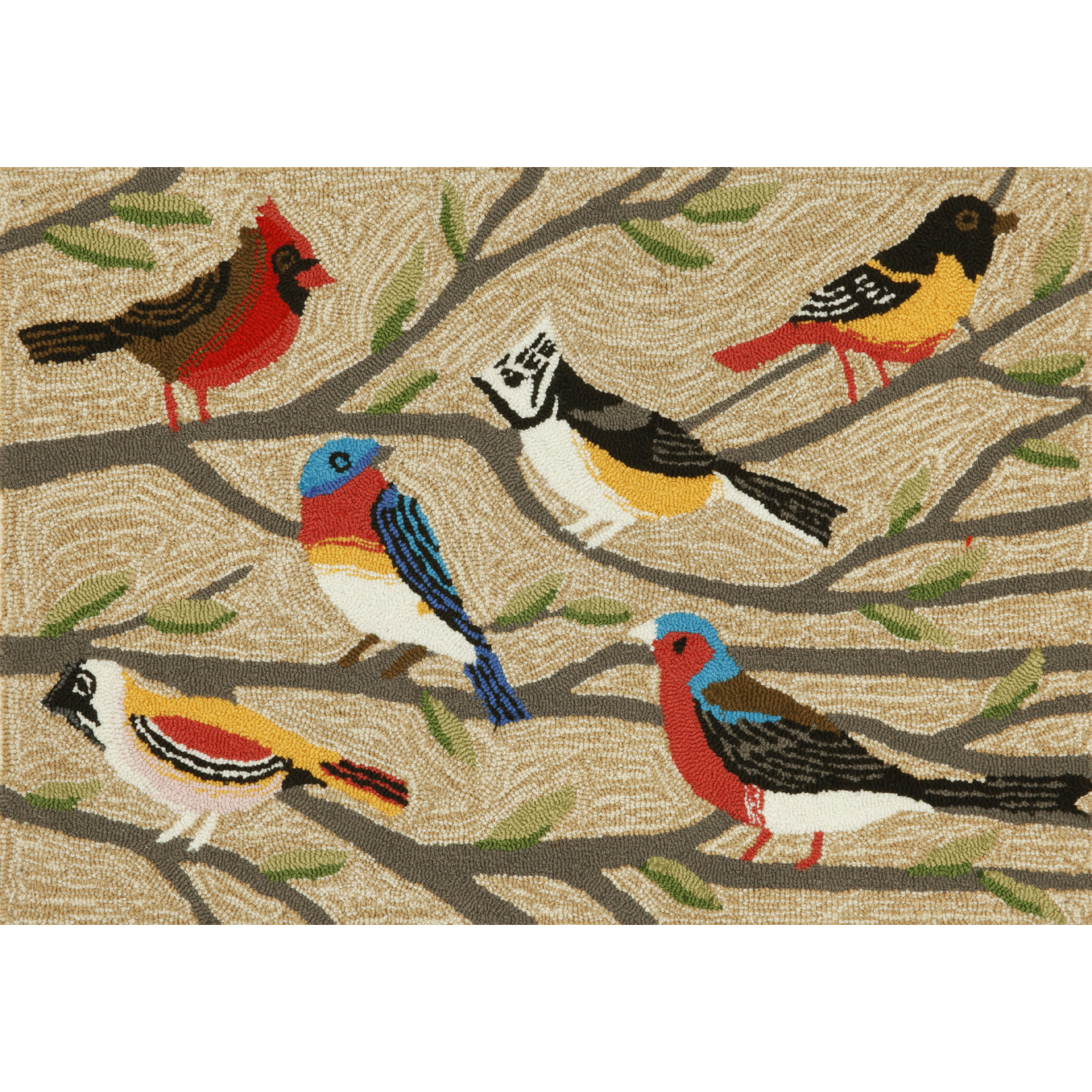 """Liora Manne Frontporch Birds Indoor/Outdoor Rug Natural 24""""X36"""""""