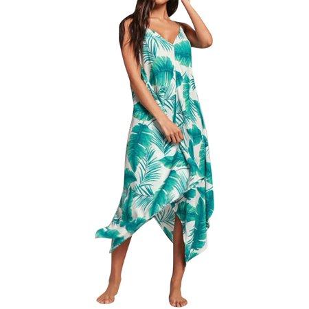 Starvnc Women Sexy V Neck Spaghetti Strap Asymmetric Hem Beach Dress (Asymmetric Flounce Dress)
