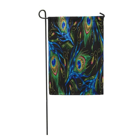 SIDONKU Colorful Floral Peacock Feathers Classical Beautiful of Tails Green Garden Flag Decorative Flag House Banner 12x18 inch ()