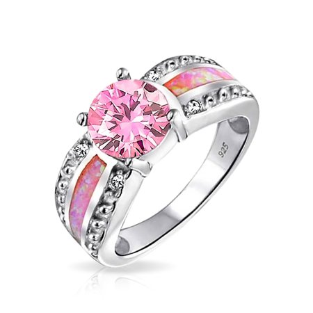 Pink Created Opal Inlay Pave Cubic Zirconia Solitaire Ring For Women 925 Sterling Silver October Birthstone