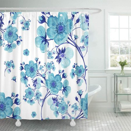 PKNMT White Floral Watercolor Gentle Spring Flowers with Buds V Colorful Vintage Retro Line Abstract Beautiful Waterproof Bathroom Shower Curtains Set 66x72 inch