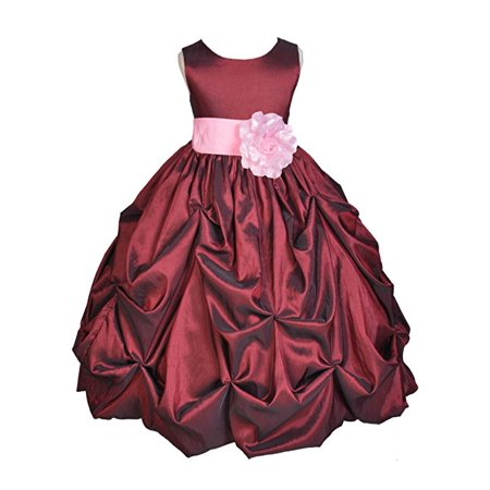 Ekidsbridal Burgundy Satin Taffeta Pick-Up Bubble Flower Girl Dresses Junior Toddler Formal Special Occasions Wedding Pageant Dresses Ball Gown Dance Recital Reception Birthday Girl Party 301S
