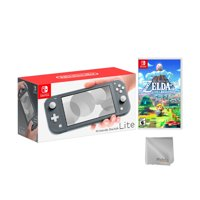 Nintendo Switch Lite Gray Bundle with The Legend of Zelda: Link's Awakening NS Game Disc and Mytrix Microfiber Cleaning Cloth - 2019 New Game!