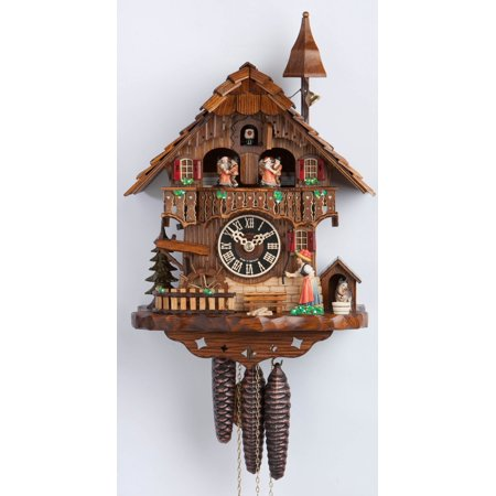 Cuckoo Clock 1 Day Chalet - 1 Day Musical Black Forest Chalet Cuckoo Clock with Bell Tower and Bell Ringer By Hönes