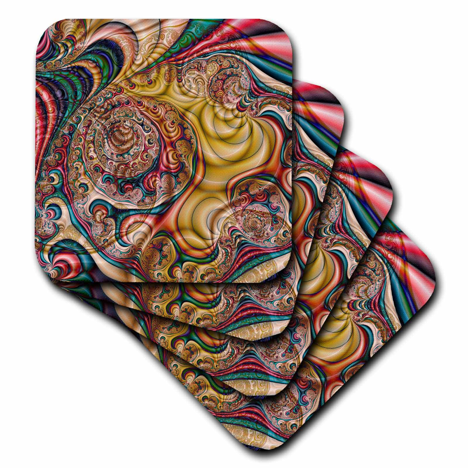 3dRose Crazy Wild Swirly Colors Intricate Fractal Abstract Fractal Art, Soft Coasters, set of 4