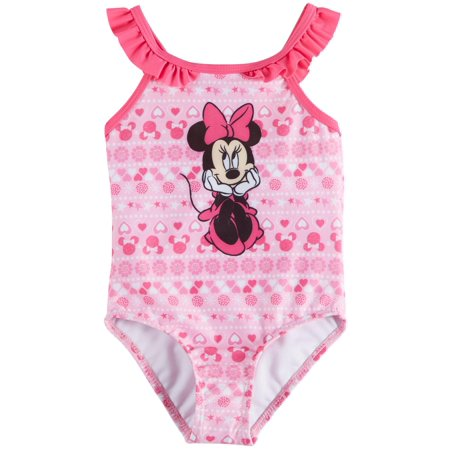 Disney Minnie Mouse Toddler Girls Floral Ruffle Swimsuit 24 Months Pink](Disney Swimwear Girls)