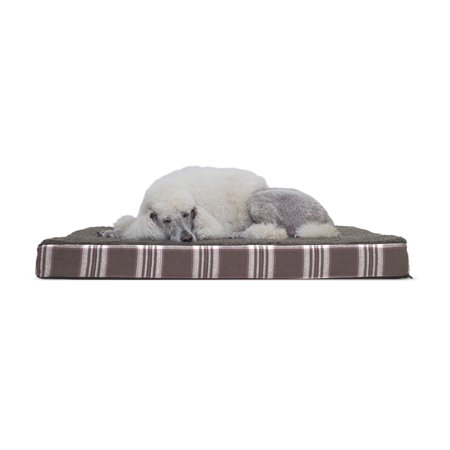 Furhaven Pet Dog Bed Deluxe Orthopedic Plaid Mattress Pet Bed For