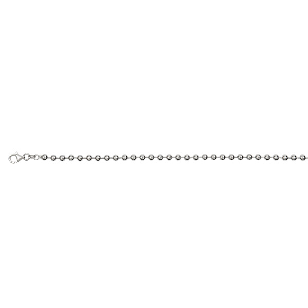 """Sterling Silver Rhodium Polished 4.00mm 24"""" Ball Rhodium Plated Chain"""