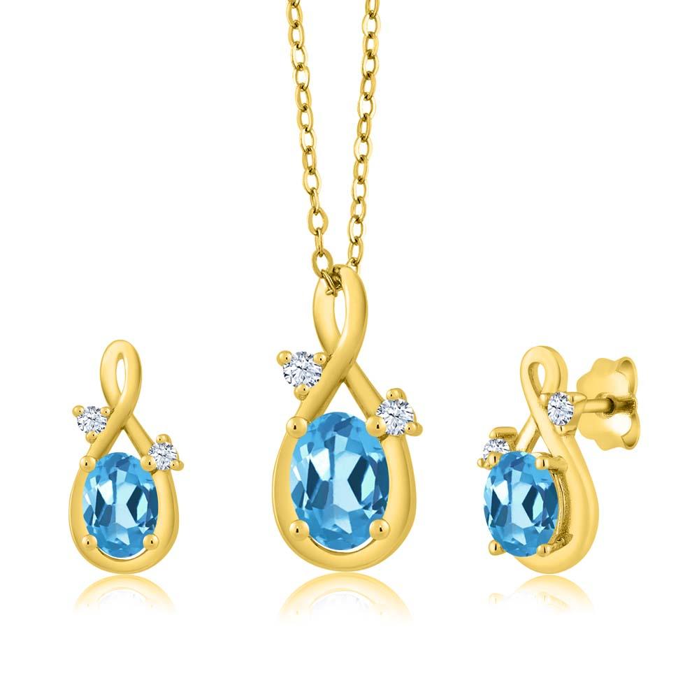 1.89 Ct Oval Swiss Blue Topaz 14K Yellow Gold Pendant Earrings Set by