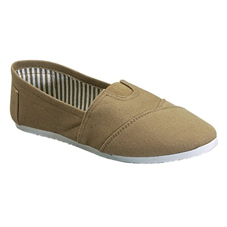 Womens Canvas Ballet Flats Slip on Espadrille Loafer Shoes Super Comfy Sandals Beige Size 6