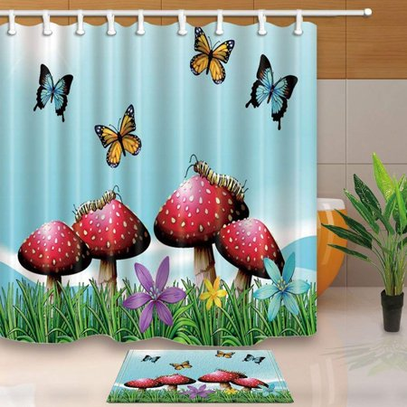 BPBOP Nature Scenery Decor Mushrooms Grow in Green Grass Against Fly Butterfly and Sky Shower Curtain 66x72 inches with Floor Doormat Bath Rugs 15.7x23.6 inches
