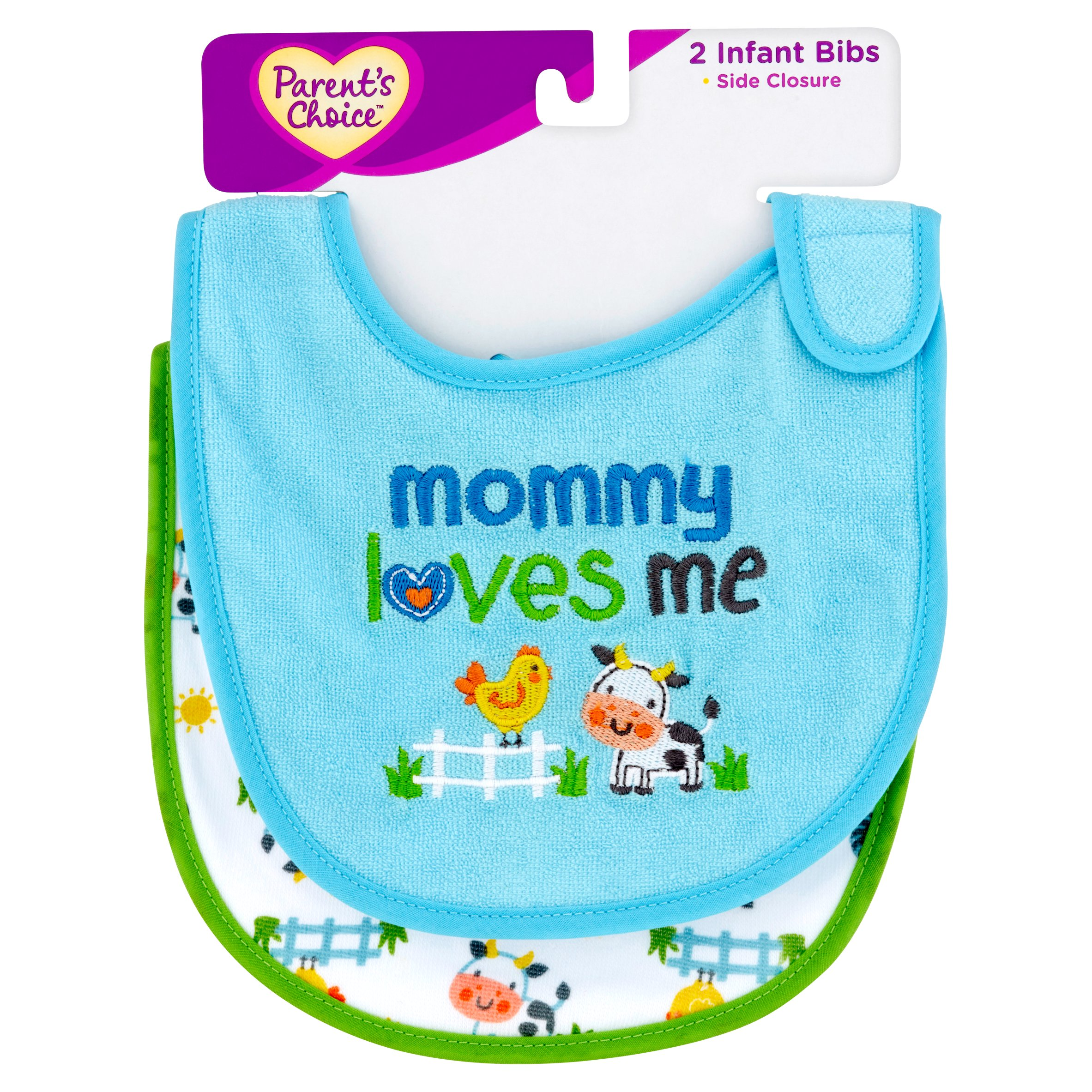 Parent's Choice Side Closure Infant Bibs, 2 count
