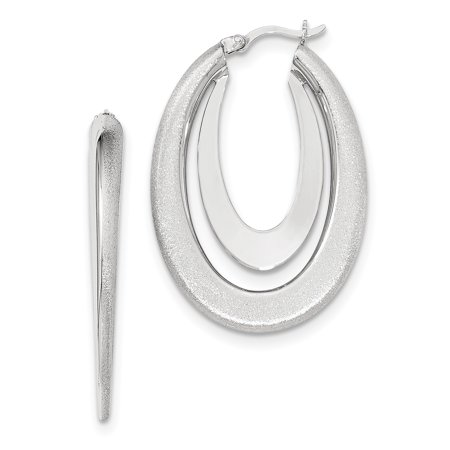 Sterling Silver Rhodium-plated Polished & Brushed Hoop Earrings QE11661 - image 2 of 2