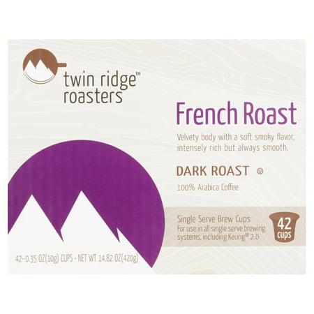 - Twin Ridge Roasters Dark French Roast Coffee Single Serve Brew Cups, 0.35 oz, 42 count