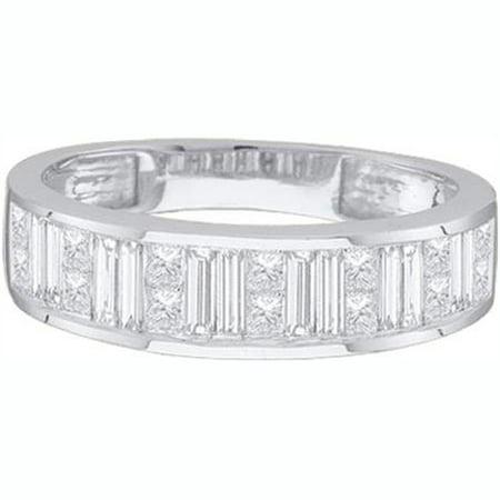 Dazzlingrock Collection 0.25 Carat (ctw) 14K Princess & Baguette White Diamond Ladies Invisible Wedding Band 1/4 CT, White Gold