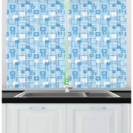 Geometric Curtains 2 Panels Set, Simplistic Abstract Squares Kids Boys Intersection of Lines Tiles Display, Window Drapes for Living Room Bedroom, 55W X 39L Inches, Baby Blue White, by Ambesonne ()