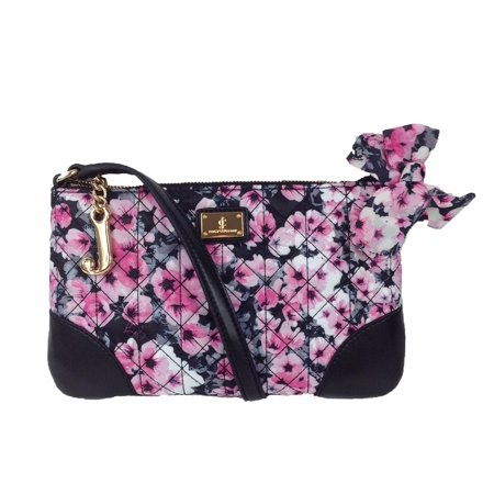 Juicy Couture Malibu Nylon Flat Crossbody, Black / Pink Floral (Juicy Couture Handbags And Purses)