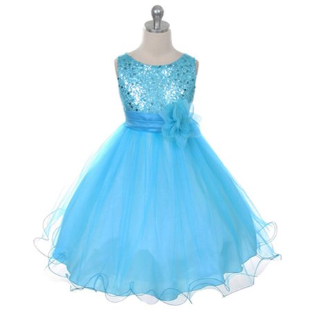 Sky Blue Children Girls Sequins Grenadine Bubble Princess One-piece Dress - image 5 of 7