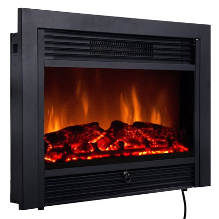Costway 28.5'' Fireplace Electric Embedded Insert Heater Glass Log Flame Remote Home - Fireplace Insert Package
