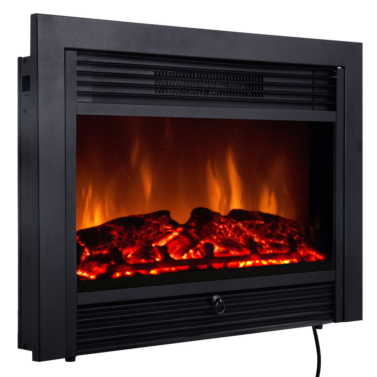 Costway 28.5'' Fireplace Electric Embedded Insert Heater Glass Log Flame Remote Home