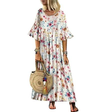 Trumpet Sleeve Women Floral Print Long Maxi Dress