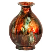 """19"""" Foiled & Lacquered Ceramic Vase - Ceramic, Lacquered In Turquoise, Copper And Bronze"""