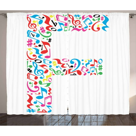 Letter F Curtains 2 Panels Set  Letter F Alphabet With Vibrant Music Notes Harmony Song Design Abc Graphic Print  Window Drapes For Living Room Bedroom  108W X 84L Inches  Multicolor  By Ambesonne