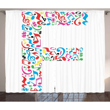 Letter F Curtains 2 Panels Set  Letter F Alphabet With Vibrant Music Notes Harmony Song Design Abc Graphic Print  Window Drapes For Living Room Bedroom  108W X 63L Inches  Multicolor  By Ambesonne