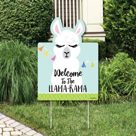 Whole Llama Fun - Party Decorations - Llama Fiesta Baby Shower or Birthday Party Welcome Yard Sign - Fiesta Birthday Party