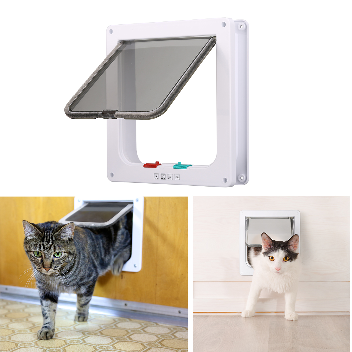 Cat Flap Door Magnetic Pet Screen Door With 4 Way Lock for Cats, Kitties and Kittens, 3 Sizes and 2 Colors Options